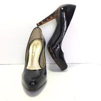 Women's JESSICA SIMPSON Black Patent Leather Animal Print Heel Pumps Size 5.5 B