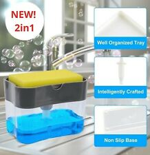2 In 1 Soap Pump Dispenser & Sponge Holder for Kitchen Dish Soap and Sponge