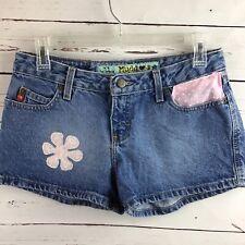 "Mudd Upcycled Flower Appliqué Denim Shorts 2"" Size 9"