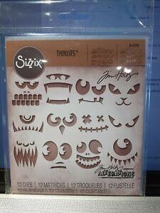 Sizzix Tim Holtz Thinlits Dies x 12 Frightening Faces 663090 Halloween