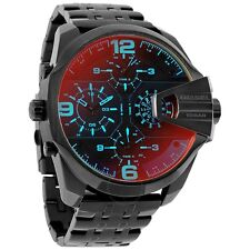 DIESEL UBER CHIEF BLACK DIAL 4 TIME ZONES BLACK ST.STEEL MEN'S WATCH DZ7373 NEW