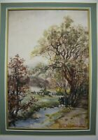 Antique Pastoral Gouache Watercolor Painting Albert Edward AE Boler 1864–1939