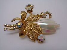 VINTAGE RHINESTONE GOLD FILEGREE AND MOP BROOCH PROM PARTY MOTHER