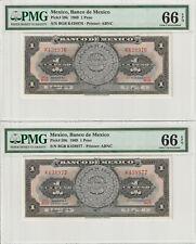 Two Consecutive Gem UNC PMG 66 EPQ Mexico 1 Peso Banknotes 1969 ABNC Pick 59k