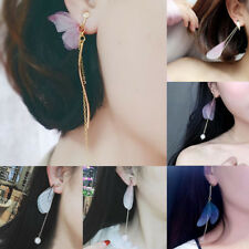 Colorful Feather Butterfly Wings Drop Dangle Long Tassel Chain Ear Stud Earrings