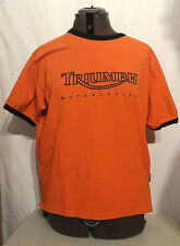 Triumph Motorcycles Short Sleeve Ringer T Shirt in Orange and Black Size Large
