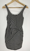 Bec + Bridge Black & White Stripped Dress Bodycon With Knot Size 6 EUC