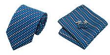 Blue White Novelty 100% Silk Classic Mens Necktie Tie Hanky Cufflink Set NT208