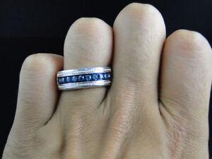 Lovely 14k White Gold Finish Blue Diamond Pave 8 MM Wedding Engagement Band Ring