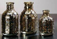 Mercury Glass Vases With Chicken Wire - Set Of 3