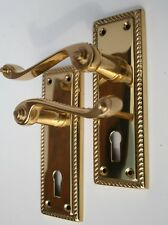 Polished Solid Brass Georgian Lever Lock Door Handles with Keyhole 148mm X 50mm