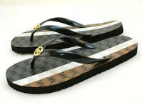 NWOB MICHAEL KORS Size 9 Black Multi MK Logo PVC Women's Flip Flops MSRP $75