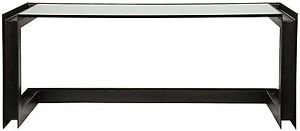 """76"""" Long Office Desk Black Industrial Metal Glass Surface Modern Contemporary"""