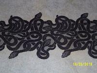 Lace Table Runner Halloween Black Snake design 72 x 15.