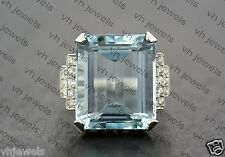 Vintage 1950s Inspired Aquamarine Cocktail Art Deco Engagement and Wedding Ring