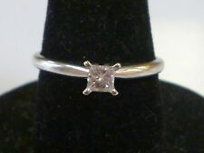 10K White Gold .20 Princess Cut Diamond Solitaire Engagement Ring 7.25 I, SI1