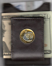 Leather Card Case / Money Clip Gold & Silver Israel 10 Agorot Menorah 191Fcm