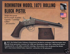 REMINGTON MODEL 1871 ROLLING BLOCK PISTOL Atlas Classic Firearms Gun PHOTO CARD