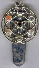 Pendente Fiore, da la Vita con i sette chakra in minerale y Matita-lazuli, laser