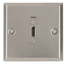 HDMI Single Steel Wallplate - Brushed Silver - Provides 1 x HDMI Socket in Wall