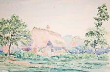 Henri Battas, aquarelle originale milieu 20°, Chaumière normande