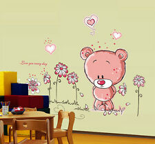 PINK TEDDY BEAR Wall Stickers art Mural Children's Kids Nursery Baby Bedroom