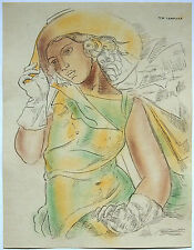 Tamara de Lempicka 'Girl in Green Dress '' handsigned ink & tempura study 1930