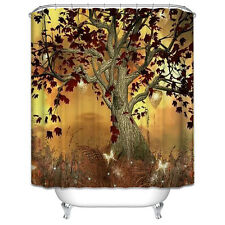 Burgundy Tree Shower Curtain Magical Butterfly Halloween Fall Autumn Enchanted