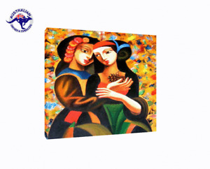FRIENDS FOREVER, MODERN DECOR HAND PAINTED CANVAS WALL ART ABSTRACT OIL PAINTING