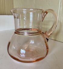 "RARE Vintage Pink Depression Glass Milk Jug Pitcher Gift Quality 5.25"" Tall"