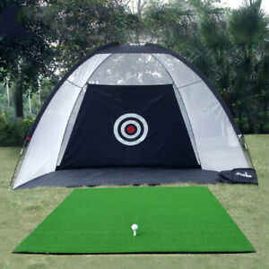 Outdoor Indoor Foldable Golf Practice Net Cage Driving Hitting Training Aid +Bag