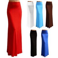 Women Summer Sexy Solid High Elastic Waist Foldover Long Jersey Maxi Skirt Dress