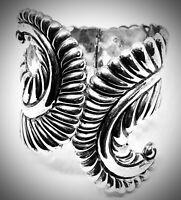 🌵TAXCO MEXICO🌵925 STERLING SILVER🌵HINGE CUFF CLAMPER BRACELET🌵FERN 58GMS🌵