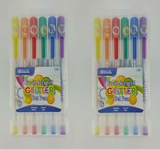 Lot of 12 FRUIT SCENTED GLITTER GEL INK PENS RAINBOW COLORS WITH CASE