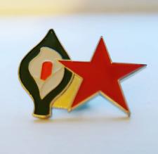 Red Star Easter Lily Pin Badge - Irish Republican Marxist Socialist Communist