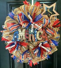 Xlg Deco Mesh Patriotic Wreath in Red, Blue, and White on Burlap w/America Sign