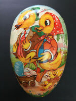 Vintage W.Germany Lg.Paper Mache Easter Egg Candy Container Colorful Duck Design