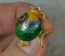 Vintage 18 Carat Gold and Enamel Fish Brooch p2095