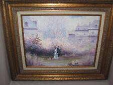 Original Howard Kimble Impressionist Victorian Oil Painting Garden Stroll