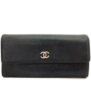 CHANEL CC Logo Black Leather Long Bifold Wallet /D1690