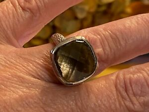 Antique Vintage 925 Hammered Sterling Silver Faceted Smokey Topaz Ring Size 7
