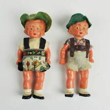 2 kleine Trachtenpuppen mit Dirndl & Lederhose - 110mm Vintage Dolls Puppenstube