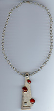 VINTAGE MEXICO MODERNIST STERLING SILVER AGATE CABOCHONS PENDANT NECKLACE
