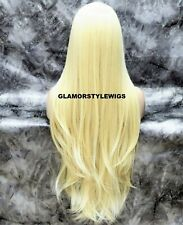 """40"""" Human Hair Blend 3 Ways Part Lace Front Full Wig Long Layered Blonde #613"""