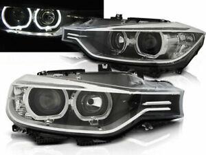 FANALI ANTERIORI LED ANGEL EYES DARK PER BMW F30 F31 11-15 SERIE 3 SPORT NEW