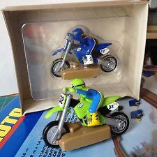HOT WHEELS X-TREME MOTO1 Blue 1 Green Slot Car VER FOTO