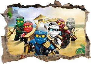 Lego Ninjago Lloyd Sensei Jay Kai 3d Smashed Wall View Sticker Poster Vinyl Z644