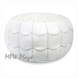 MPW Plaza Pouf, Full Arch, White, Moroccan Leather Ottoman (Stuffed)