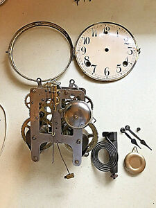 ANTIQUE WM. GILBERT 1920 WIND-UP CHIME & BELL CLOCK MOVEMENT AND CLOCK PARTS