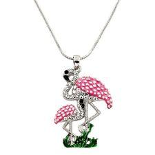 "Pink Flamingo Charm Pendant Necklace - Enamel - Sparkling Crystal - 17"" Chain"